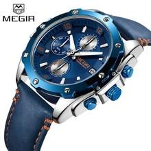 MEGIR גברים שעונים למעלה מותג יוקרה כחול הכרונוגרף שעוני יד תאריך צבאי ספורט עור להקת זכר שעון Relogio Masculino 2074
