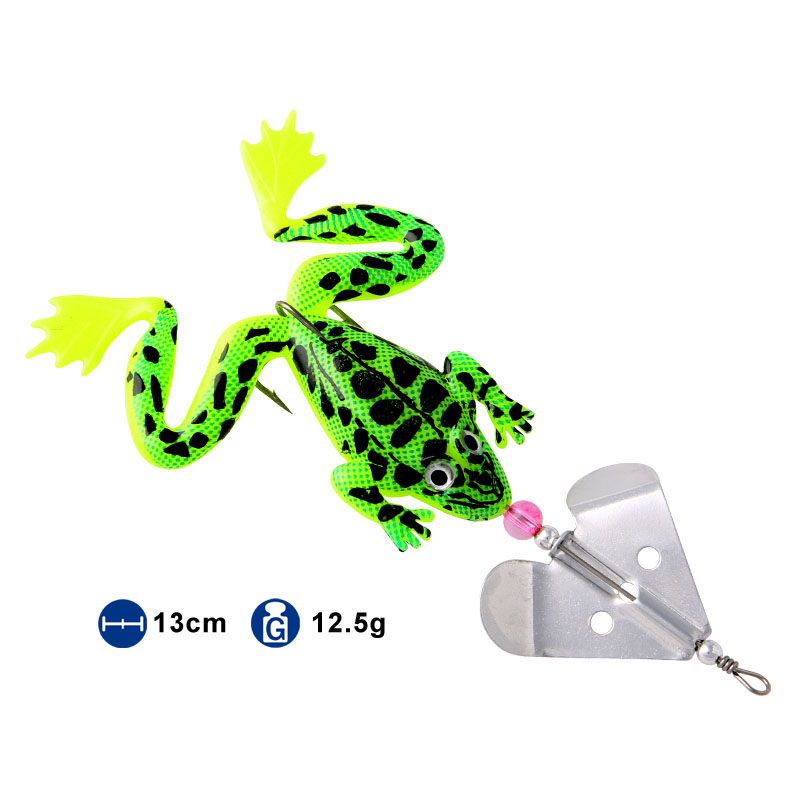 Soft Fishing bait Ray frog Fake bait Artificial with treble hook and sequins Tail in Fishing Lures from Sports Entertainment
