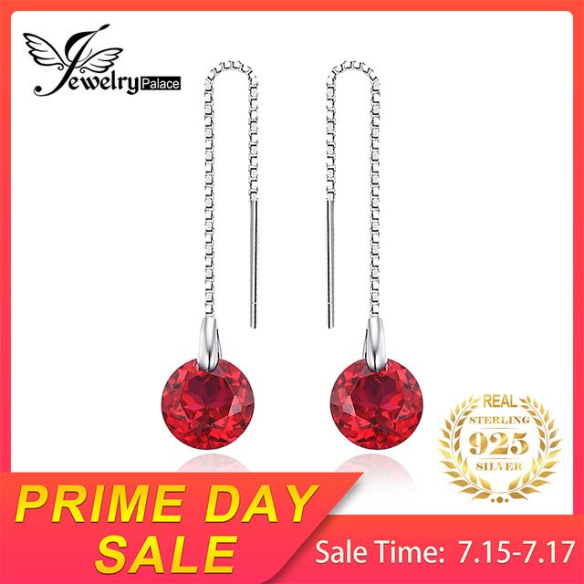 Round Ruby Threader Earrings