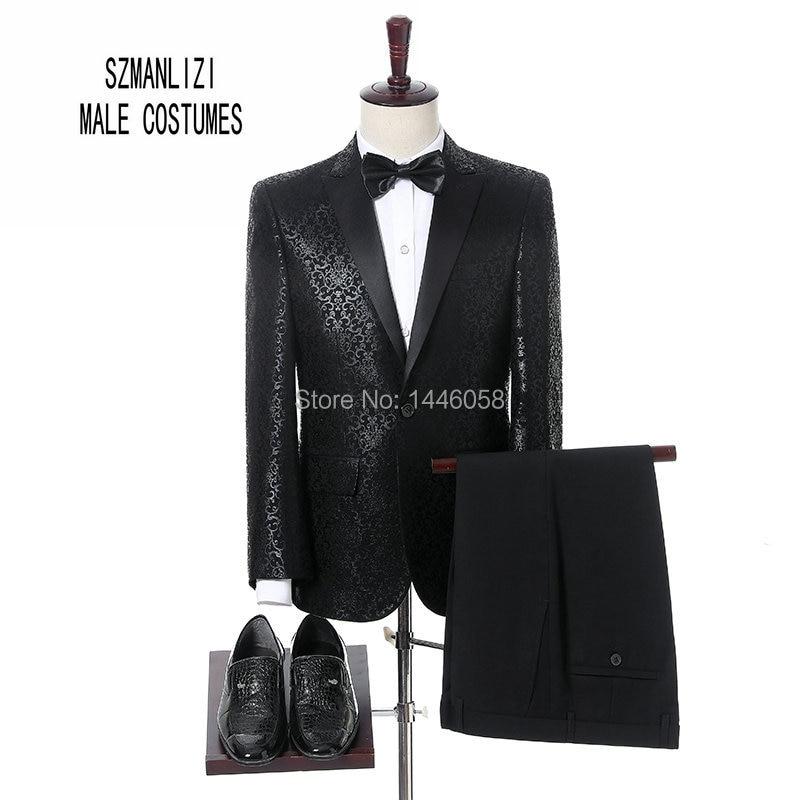 elegant suit men for wedding 2018 men dress groomsmen costume homme terno slim fit black printed. Black Bedroom Furniture Sets. Home Design Ideas