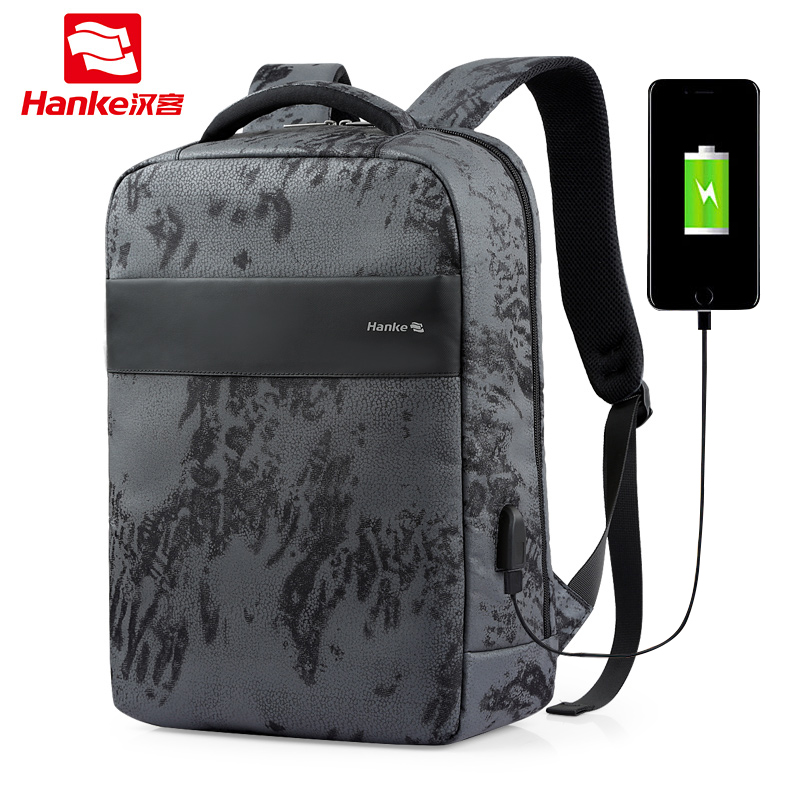 Hanke USB Charging Men School Backpack 15.6 Male Laptop Backpack Camouflage mochila Teenagers Water Repellent Travel DaypackHanke USB Charging Men School Backpack 15.6 Male Laptop Backpack Camouflage mochila Teenagers Water Repellent Travel Daypack