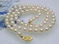 Тонкий 5 6 мм AAA + КЛАСС БЕЛЫЙ AKOYA жемчуг ожерелье 14 k желтое золото 16 или 18
