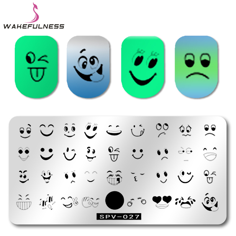 1Pcs Face Emoji Nail Stamping Template Plates Various Expression Image Rectangle Nail Art Stamp Plate Manicure Stencils Tool