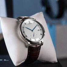 Новинка, автоматические часы для мужчин, модные мужские механические часы с кожаным ремешком, часы с цифрами в римском стиле, водонепроницаемые наручные часы, montre homme