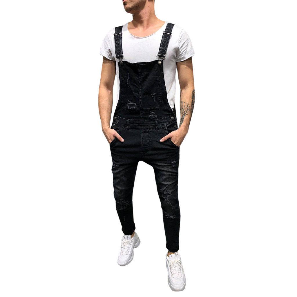 JAYCOSIN Men's Overall Street Casual Jumpsuit Jeans Washed Hole Pocket Modis