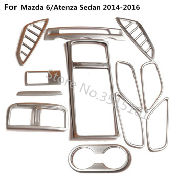 Glass Window Switch Handle Bowl Vent Outlet Cup Air Condition Panel Trim 12pcs For Mazda 6/Atenza sedan 2014 2015 2016