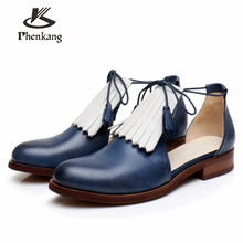 цены Genuine sheepskin leather brogues yinzo lady flats Sandals shoes vintage handmade oxford shoes for women 2018 yellow blue beige