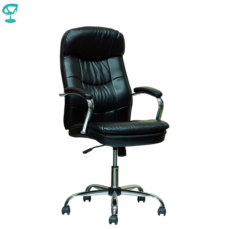 94648 Black Office Chair Barneo K-2 Perforated Eco-leather High Back Chrome Armrests With Leather Straps Free Shipping In Russia