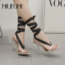 Black Straps Crystal With Transparent High Heels Fashion Women Sandals 2019 New Cross Pointed Solid Color Sexy Womens Shoes