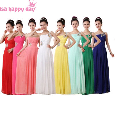 3154113fce US $38.1 5% OFF robe 2019 cheap light yellow royal blue chiffon one  shoulder long bridesmaid dress multi color dresses for wedding guests  B1915-in ...