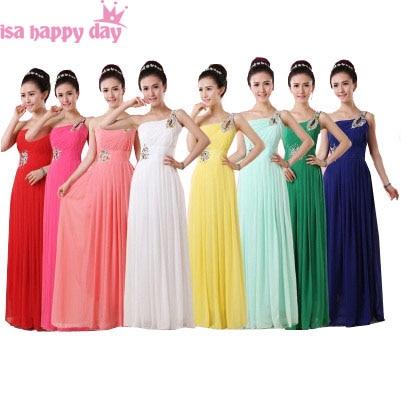 Robe 2020 Cheap Light Yellow Royal Blue Chiffon One Shoulder Long Bridesmaid Dress Multi Color Dresses For Wedding Guests B1915