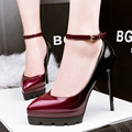 women high quality pu leather buckle strap high heels lady cute autumn and spring wine red party high heel shoes casual pumps