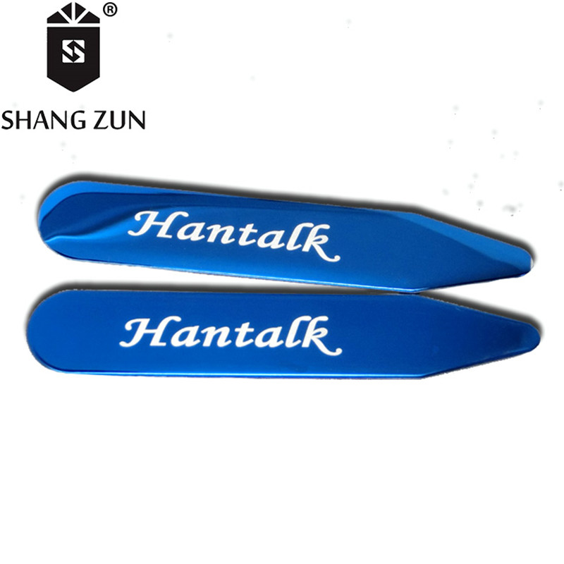 SHANH ZUN 2 Pcs Stainless Steel 304 Sollar Ctays Custom Logo Collar Stiffeners Laser Logo High-grade Metal Shirt Collar Insert