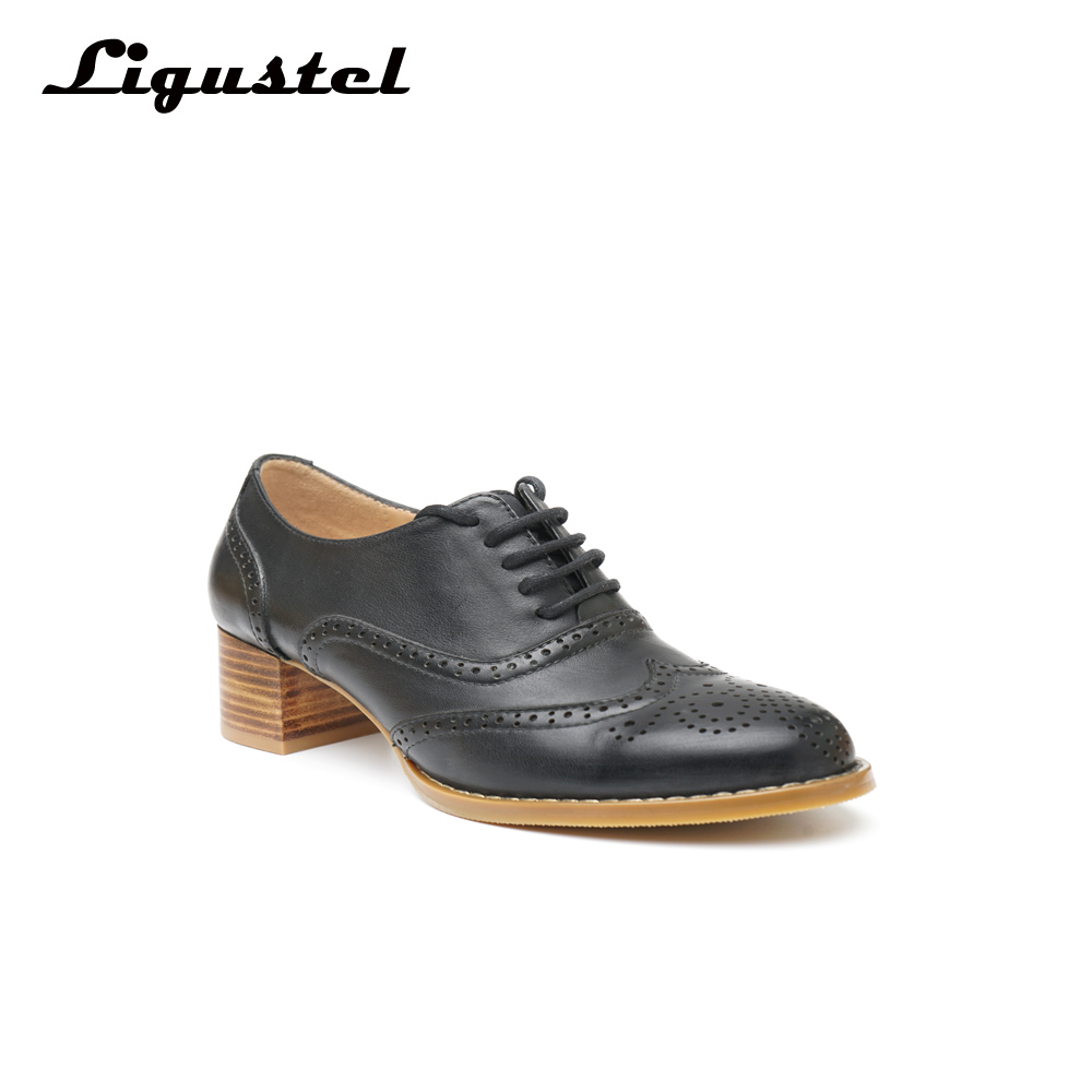 Women's Oxford Shoes Perforated Leather oxfords Ladies Black Brogues Vintage Casual oxford Shoes For Women Footwear