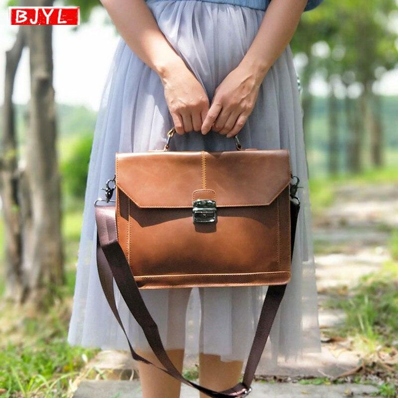 BJYL New women briefcase retro crazy horse leather business lock messenger bag trend shoulder bag female British style handbag