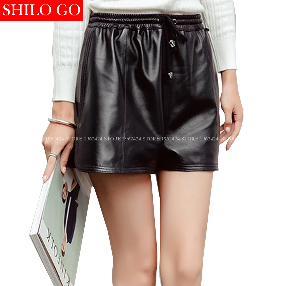 SHILO GO New Street Women Empire Loose Elastic Waist Loose Shorts Sheepskin Genuine Leather Shorts Ladies Concise Casual Shorts