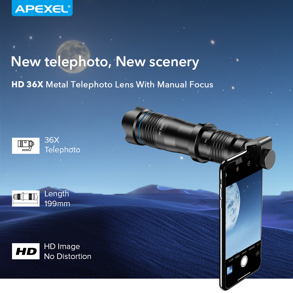 Image 3 - APEXEL Optional HD 36X metal telescope telephoto lens monocular mobile lens+ selfie tripod for Samsung Huawei all Smartphones-in Mobile Phone Lens from Cellphones & Telecommunications