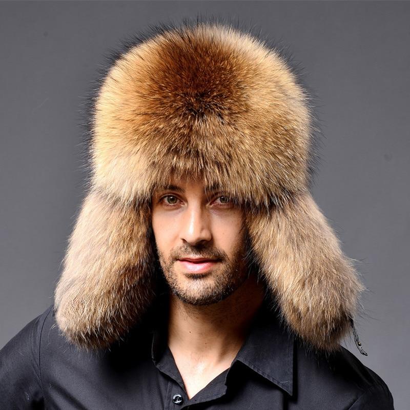 2019 BARU Warna Alami Topi Bulu Gaya Siberia Topi Bulu Rakun Topi - Aksesori pakaian - Foto 4