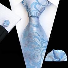 Mens Ties Light Blue Paisley Tie Pocket
