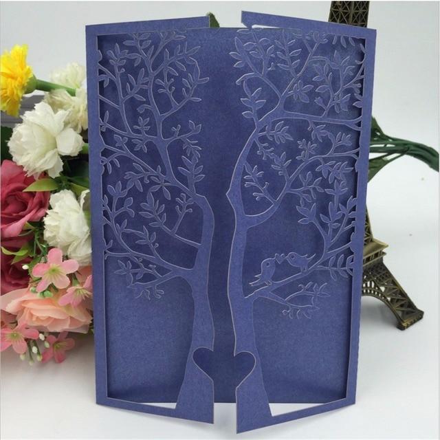 50pcs Chic Tree Wedding Invitations Cards Birthday Greeting Cards