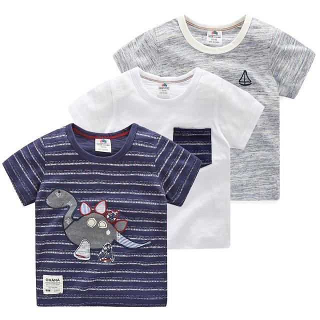 Meninos T-shirt 2016 novo verão de roupas infantis do bebê meninos camisa listrada T crianças t camisas de algodão Dinossauro dos desenhos animados do bebê roupas