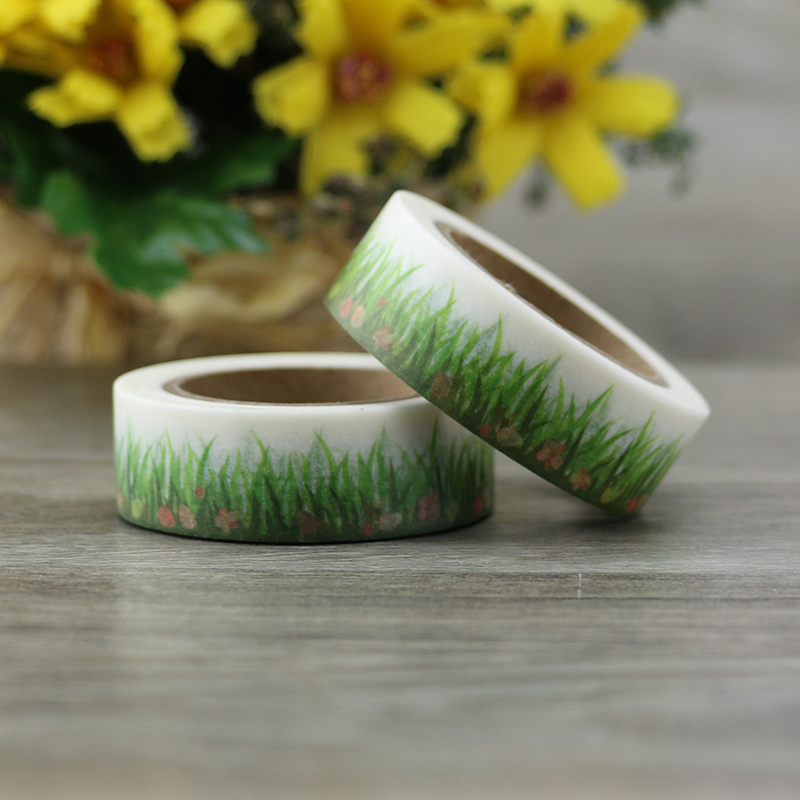 NEW Spring Grass Washi Tape DIY Decorative Scrapbooking Tools Planner Masking Tape Adhesive Tapes Stickers Stationery 1.5cm*10m