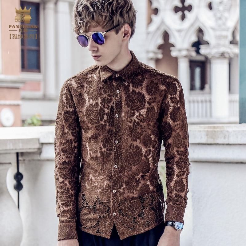 6dc59abd FanZhuan envío gratis nuevo hombre de moda 2017 casual masculino de manga  larga camisa delgada 712081 Blusa de encaje perspectiva hueco-in Camisas  casuales ...