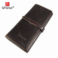 WHORSE Vintage Retro Coffee Real Genuine Cowhide Leather Bifold Clutch Mens Wallet Coin Package Purse