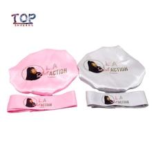 Индивидуальные лого bonnets 2 слоя полиэстер Атлас женщин капот/повязка забота Расширение парик волосы шапки сна