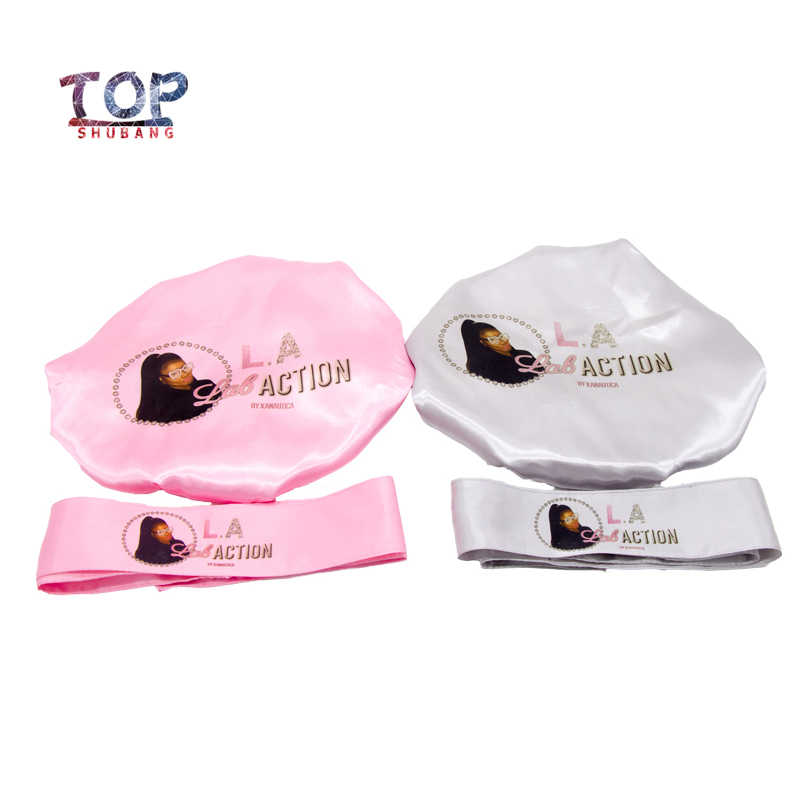 Customized Logo bonnets 2 Layer Polyester Satin Women Bonnet/Headband Caring Extention Wig Hairs Sleep Caps