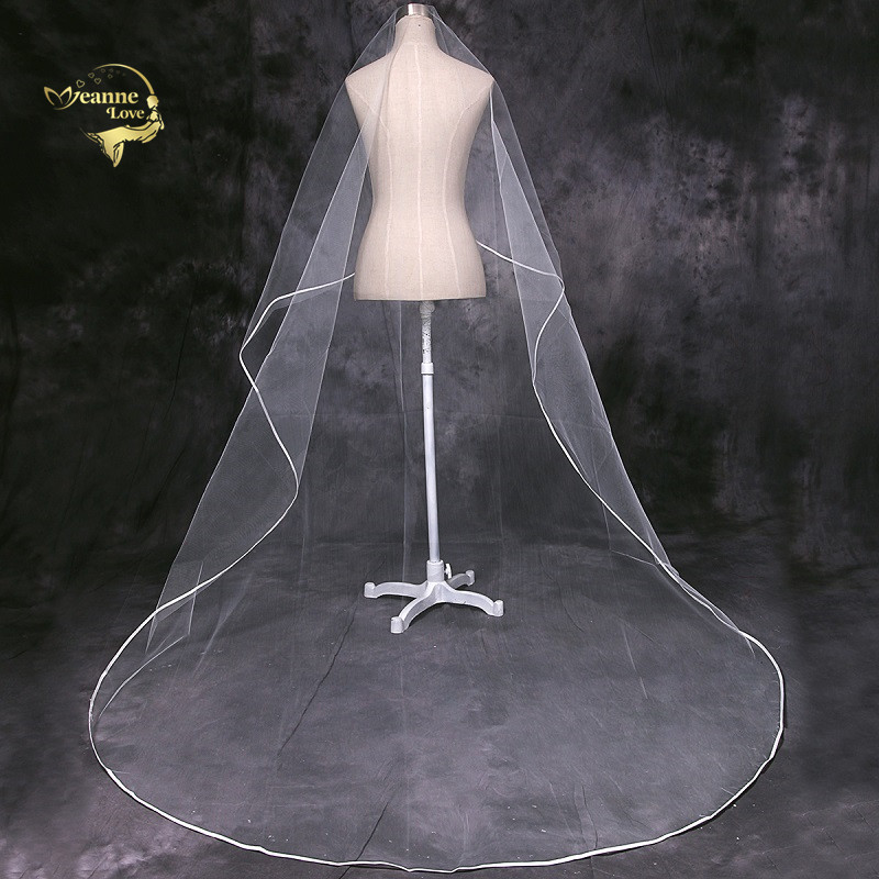 Cathedral Veil Tulle Ribbon Edge Long Train 3 Meters Wedding Veil For Bride Velos De Novia 2019 Largos Accesorios De Novia