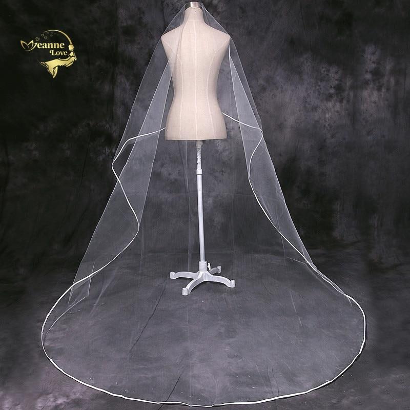 Cathedral Veil Tulle Ribbon Edge Long Train 3 Meters Wedding Veil For Bride Velos De Novia 2019 Largos Accesorios De Novia