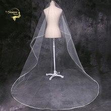 Cathedral Veil Tulle Ribbon Edge Long Train 3 Meters Wedding for Bride Velos De Novia 2019 Largos Accesorios