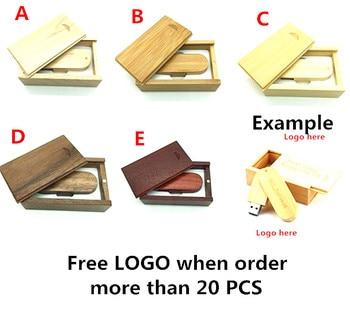 Customer LOGO Wooden USB + box USB Flash Drive pendrive 4GB 8GB 16G 32GB 64GB USB 2.0 Memory stick photography wedding gift