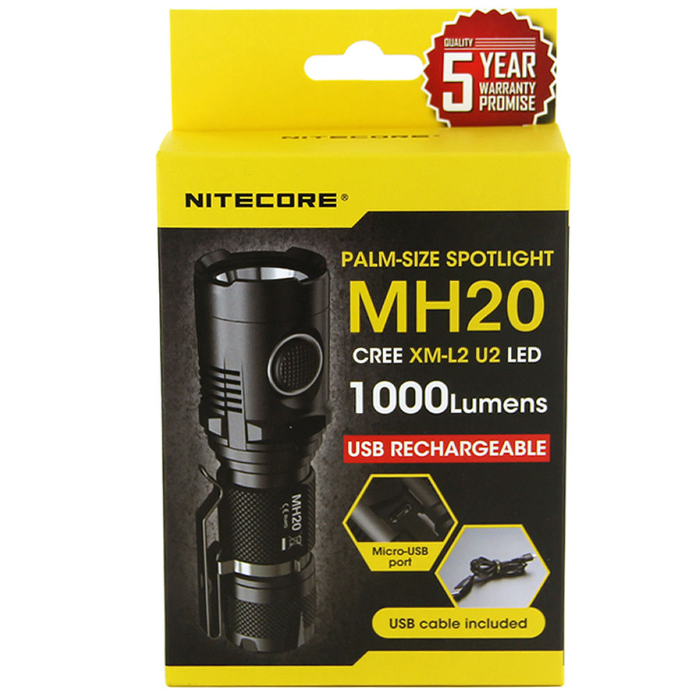 Discount NITECORE MH20 1000Lumen CREE XML2 U2 LED Rechargeable Mini Flashlight Waterproof Torch with 18650 Battery Free Shipping - 2