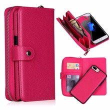 Multifunction For iPhone6 6S 7 8 Plus PU Leather Zipper Wristlet Cash Clutch Wallet Cases Card pocke 2 in1 Phone Case Back Cover