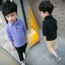 Nouveau automne enfants de garçon solide messieurs blouse vêtements de bébé garçon manches longues bouton revers top garçon grande chemise de qualité chaude vente