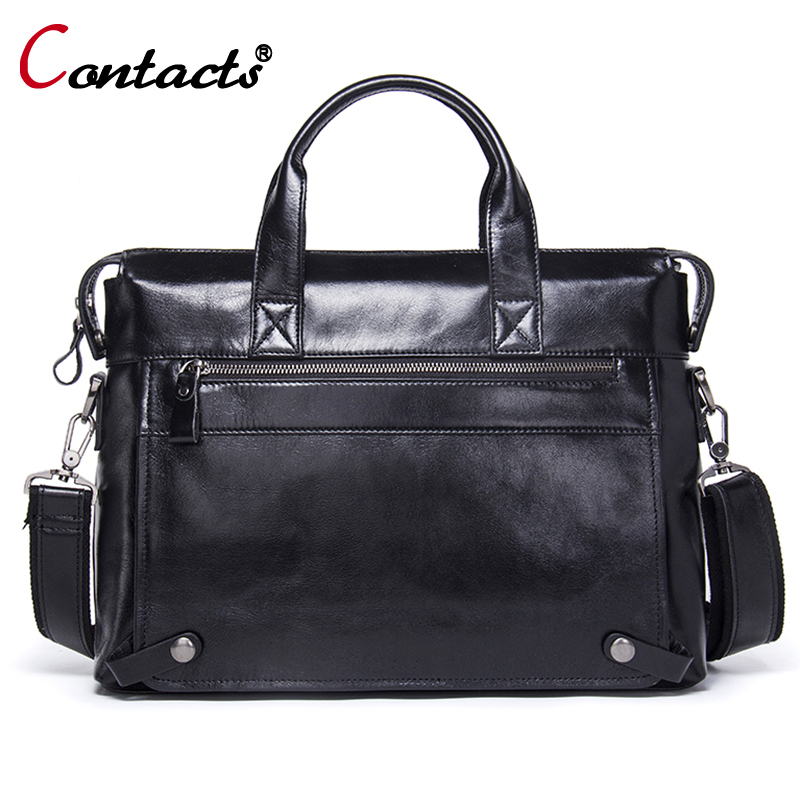 Contact's Messenger Bag Men's Genuine Leather Crossbody Bag Big Shoulder Bag Famous brand men shoulder leather briefcase handbag famous brand top leather handbag bag 2018 new big bag shoulder messenger bag the first layer of leather hand bag