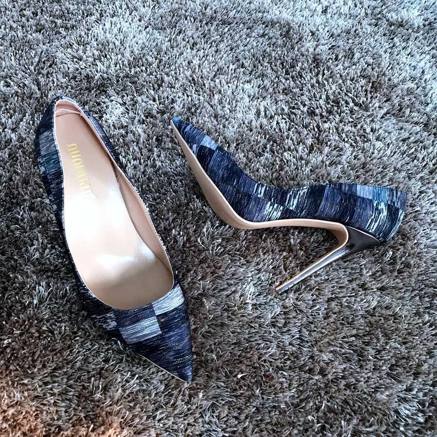 Phụ nữ Bơm Faux Suede Cơ Bản Dép Rắn Màu Sắc Giày Trượt Trên Giày Cao Gót 8 10 12 cm Sandal Femme Sexy bơm Phụ Nữ Cao Gót Giày