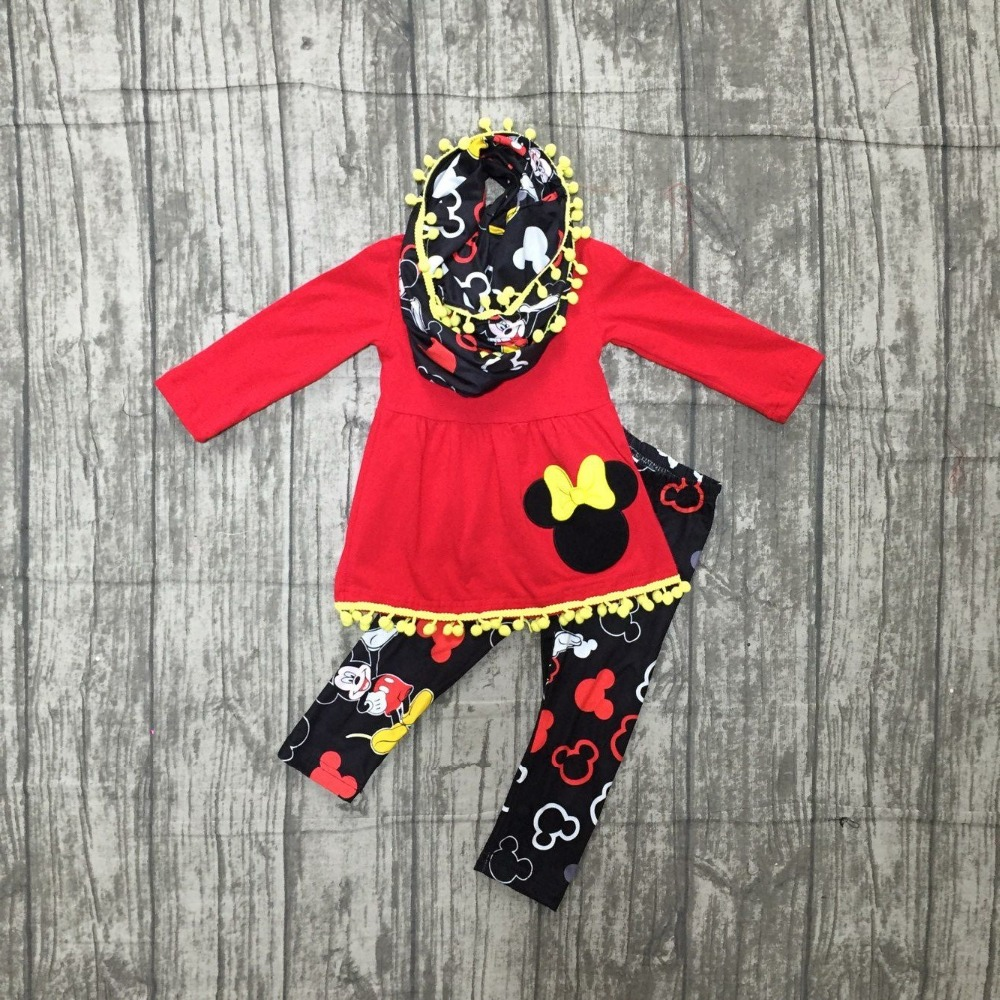 new arrivals FALLWinter baby girls outfits 3 pieces scarf cotton black red top mouse pom pom pant boutique children clothes