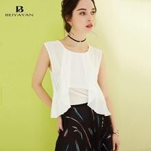 BEIYAYAN New Women Shirts 2017 White Color Sleeveless Summer Shirts Daily Clothing Tops
