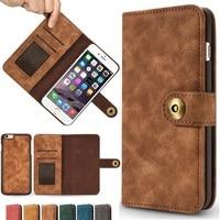 Съемный назад кожаный чехол для Samsung Galaxy S7 край S8 Примечание 8 iPhone X 8 5 5S SE 6 6 S 7 Plus Магнитная Крышка карты бумажник флип