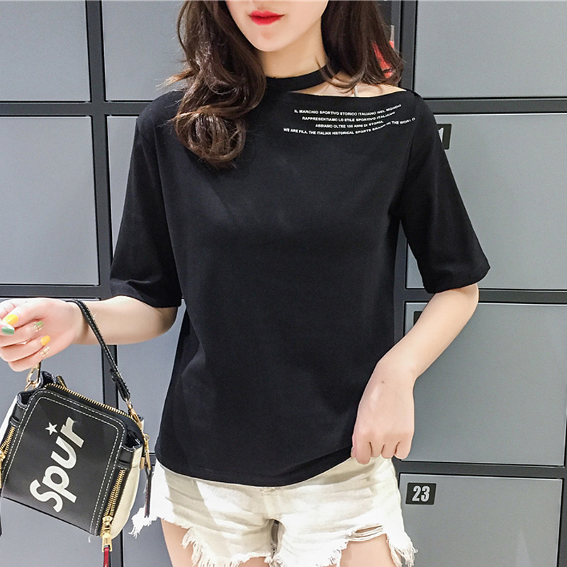 harajuku letter Printed Short Sleeve T Shirt Women Fashion Casual Black white halter Tshirt Femme Graphic Tee Clothes sexy tops