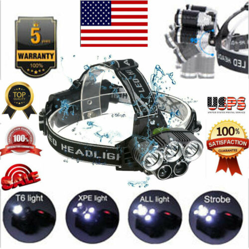 LED Headlamp 90000LM Super-bright 5 X XM-L T6 Headlight Flashlight Head Torch Hot Head Light