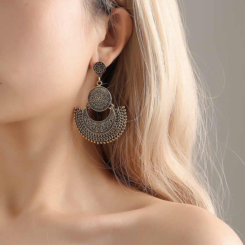 Bohemian Tassel Pendant Drop Earrings Big Bead Exaggeration Vintage Women Dangle Earrings Hot Trendy Jewelry 2019 New year gift