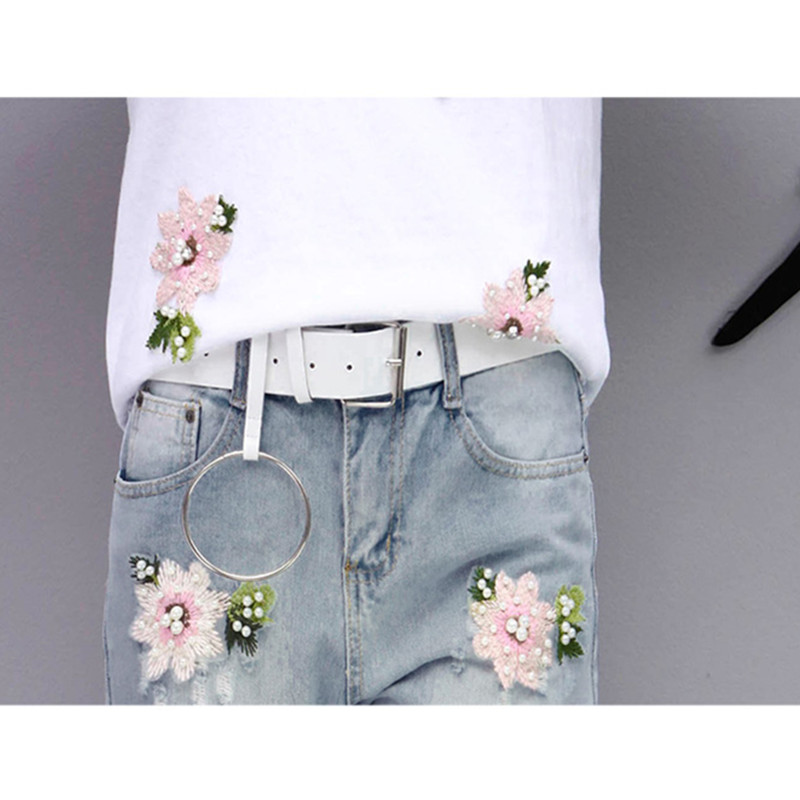 2017 Summer Women Embroidery Bead Sets Sportsing T-shirt+Hole Jeans Casual Two-piece Fashion Suit Lovely Student Clothes YAGENZ 6