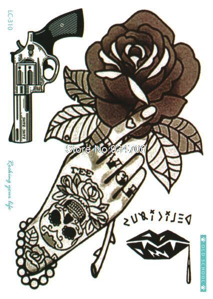 LC-310 21x15cm Vintage Skull Hand Pistol Large Tatoo Sticker Classical Black White Design Cool Temporary Tattoo Stickers Taty