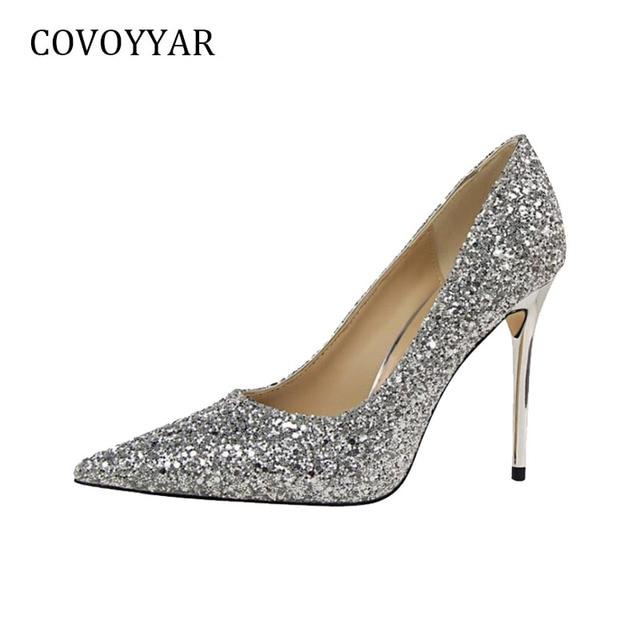 93799f6ebdbb COVOYYAR 2019 Sexy Sequin Women High Heels Spring Elegant Pointed Toe Lady  Pumps Stiletto Wedding Party Women Shoes WHH27