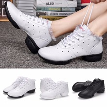 Women Dancing Shoes Spring Fall Soft Sole Breathable Square Gymnastics Fitness Sports Sneakers For Jazz/Modern Dance Drop Ship(China)