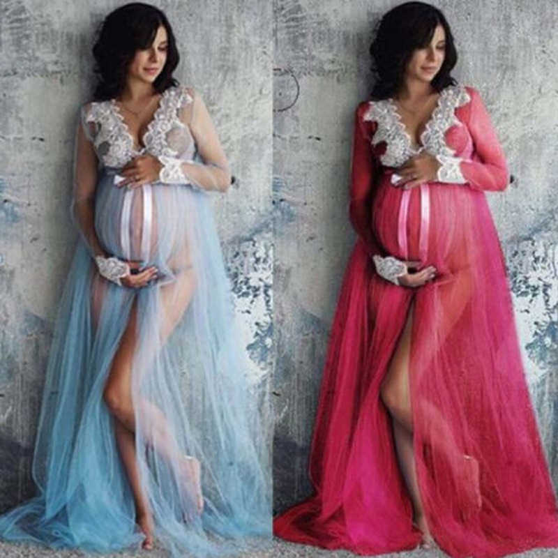New 2018 Summer Lace Maternity Dress Women Pregnant Maternity Gown Photography Props Costume Pregnancy Lace Long Maxi Dress